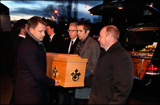 The remains of TK Whitaker are brought by relatives to the Church of the Sacred Heart in Donnybrook. Pic Steve Humphreys