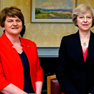 The resignation of deputy first minister Martin McGuinness has caused problems not just for Arlene Foster (left) but also the Brexit plans of UK Prime Minister Theresa May. Photo: REUTERS/Charles McQuillan