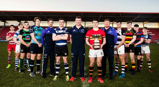 Schools Senior Cup captains with Darren Sweetnam, Peter O'Mahony and Stephen Archer Credit Photo: INPHO/Tommy Dickson