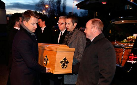 The remains of TK Whitaker are brought by relatives to the Church of the Sacred Heart in Dublin. Photo: Steve Humphreys