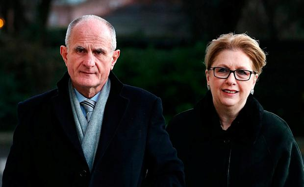 Former President Mary McAleese and husband Martin attending the removal mass of TK Whitaker at the Church of the Sacred Heart in Donnybrook. Photo: Steve Humphreys