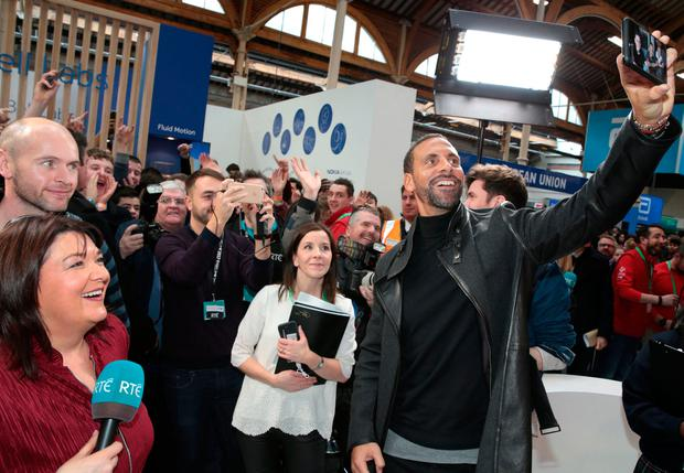Footballer Rio Ferdinand on the RTÉ set at the BTYSTE 2017 at the RDS, Dublin. Photo:Brian McEvoy