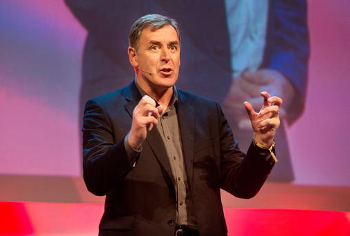Packie Bonner speaks at the Pendulum Summit in the National Convention Centre Dublin. Photo: Tony Gavin
