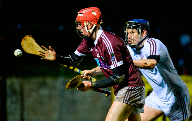 Gearoid Loughnane of NUI Galway in action against Brian Flaherty of Galway Photo: Seb Daly/Sportsfile