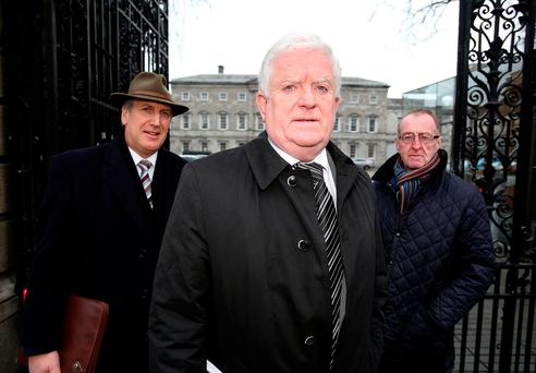 Declan Fearon,(centre) with John Sheridan, (left) and Bernard Boyle, representatives from the group, Border Communities Against Brexit. Photo: Tom Burke