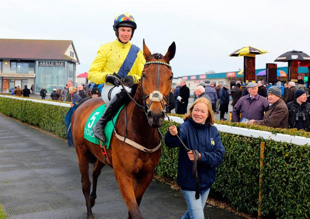 Sam Red and Adrian Heskin after winning 'The Racing 15th March Hurdle' at Navan in 2015, Sam Red's only victory