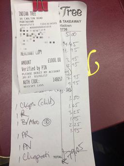 A picture of the £1,000 tip