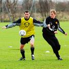 Roy Keane and Darren Fletcher training during their Manchester United days