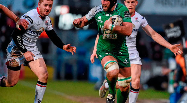 John Muldoon, Connacht, breaks up the line ahead of Paddy Jackson and Andrew Trimble