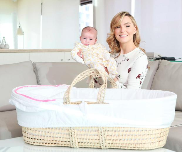 Sarah Morrissey with her 2-month-old daughter Sadie Jennings announcing details of Aldi's latest Baby and Toddler Event. Picture: Leon Farrell / Photocall Ireland