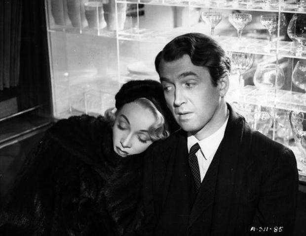 James Stewart (1908-1997 ) stars with Marlene Dietrich (1901-1992) in Henry Koster's film 'No Highway' in 1951, adapted from the Nevil Shute novel. (Photo by Hulton Archive/Getty Images)