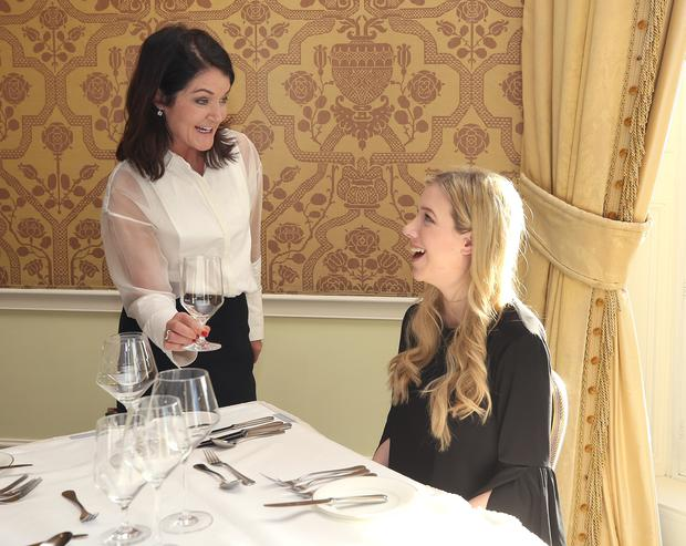 Amy Mulvaney, right, journalist with Independent.ie with Orla Brosnan from the etiquette School of Ireland, the Etiquette School of Ireland hosted an Etiquette Masterclass at the Shelbourne Hotel today. Picture credit; Damien Eagers
