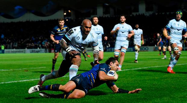 Isa Nacewa of Leinster scores the first try against Montpellier during the European Rugby Champions Cup Pool 4 Round 5 match between Leinster and Montpellier at the RDS Arena in Dublin. Photo by Matt Browne/Sportsfile