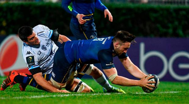 Jack Conan of Leinster goes over to score his side's seventh try during the European Rugby Champions Cup Pool 4 Round 5 match between Leinster and Montpellier at the RDS Arena in Dublin. Photo by Stephen McCarthy/Sportsfile