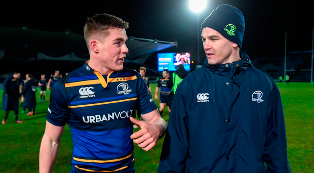 Garry Ringrose and Johnny Sexton chat after last night's victory for Leinster Photo: Matt Browne/Sportsfile