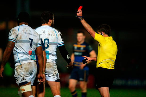 Montpellier's Frans Steyn is red carded for a tackle on Johnny Sexton Photo: Niall Carson/PA Wire
