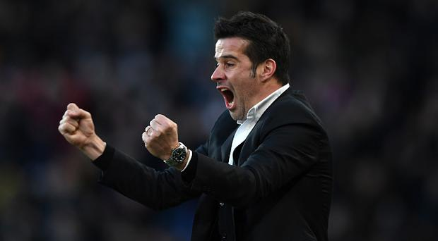 HULL, ENGLAND - JANUARY 14: Marco Silva, Manager of Hull City celebrates his side goal during the Premier League match between Hull City and AFC Bournemouth at KCOM Stadium on January 14, 2017 in Hull, England. (Photo by Gareth Copley/Getty Images)
