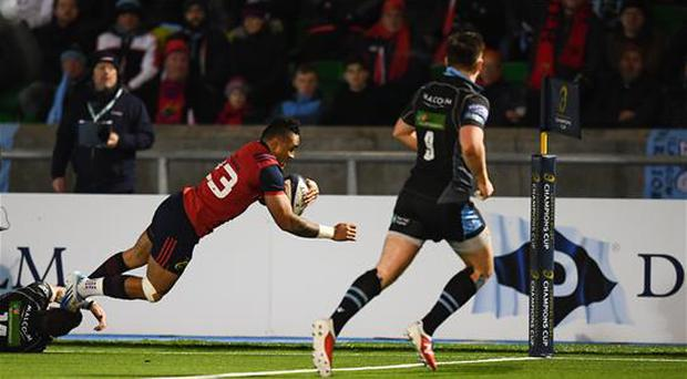 14 January 2017; Francis Saili of Munster goes over to score his side's first try during the European Rugby Champions Cup pool 1 round 5 match between Glasgow Warriors and Munster at Scotstoun Stadium in Glasgow, Scotland. Photo by Stephen McCarthy/Sportsfile
