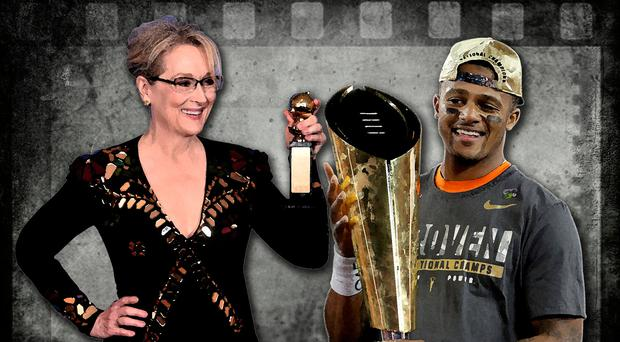 Meryl Streep's (left) speech showed that she hasn't grasped the power of sport to inspire people — as evidenced by the stunning display by Deshaun Watson (right) and his team-mates