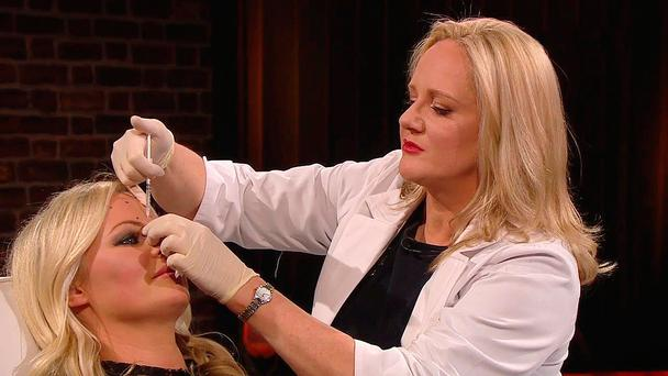 Amanda Brunker is given Botox injections live on 'The Late, Late Show', on which she explained that she has been having the jabs semi-regularly for the past seven years to look 'fresher' - and that she would not pretend she isn't having it because doing so 'would be a bit fake'