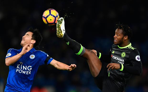 Shinji Okazaki of Leicester City and Michy Batshuayi of Chelsea battle for the ball. Photo: Getty