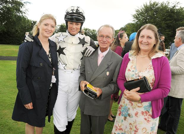 Pat Eddery poses with horse owner Emma Owen (far left) and Trish Simonon (centre) and guest during Ladies Day at Glorious Goodwood held at Goodwood Racecourse on August 2, 2012 in Chichester, England. (Photo by Dave M. Benett/Getty Images)