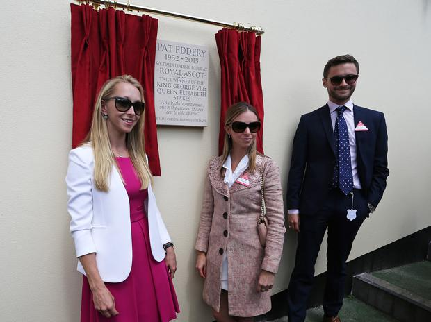 Pat Eddery's daughters, Natasha (L), Nicola and son Harry unveil a plaque in their fathers honour at Ascot Racecourse on July 23, 2016 in Ascot, England.
