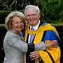 Dermot Gallagher awarded UCD honorary degree in October 2015. Pictured is Maeve Gallagher congratulating her husband Dermot on his Honorary Degree