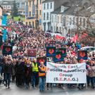 A protest march took place on Saturday afternoon in Waterford city against the lack of cardiac services at Waterford University Hospital. Photo: Patrick Browne.