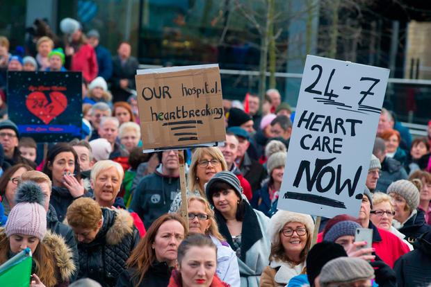 A protest march took place on Saturday afternoon in Waterford city against the lack of cardiac services at Waterford University Hospital. Photo: Patrick Browne