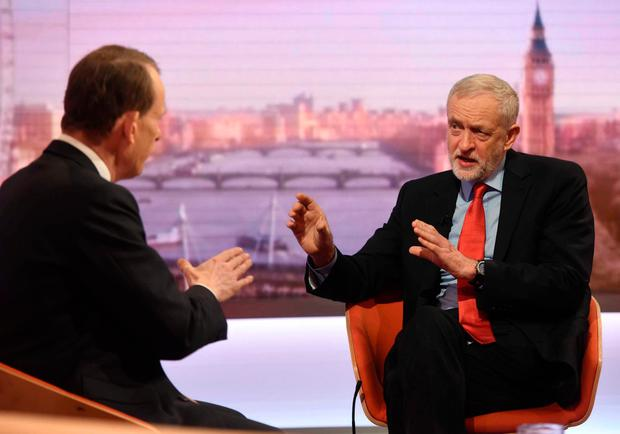 Labour leader Jeremy Corbyn on the BBC's 'Andrew Marr Show'. REUTERS