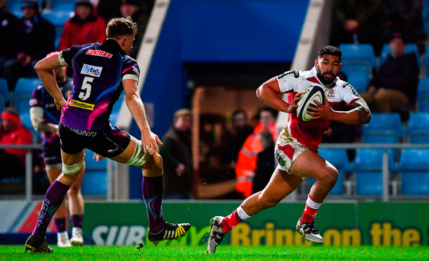 Charles Piutau of Ulster on his way to scoring his side's third try. Photo by Ramsey Cardy/Sportsfile