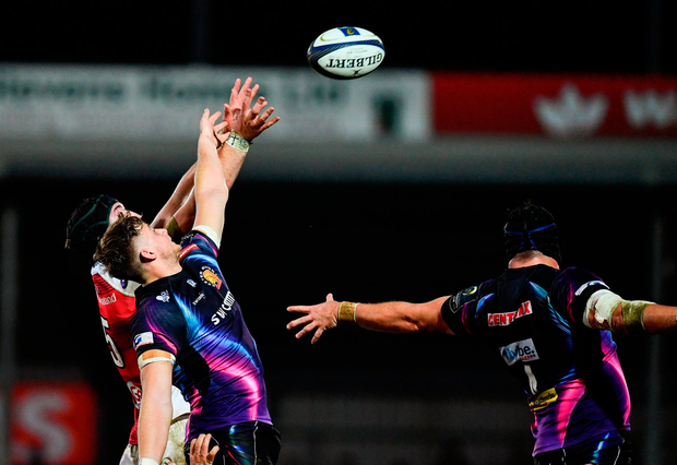 Pete Browne of Ulster in action against Jonny Hill of Exeter Chiefs. Photo by Ramsey Cardy/Sportsfile