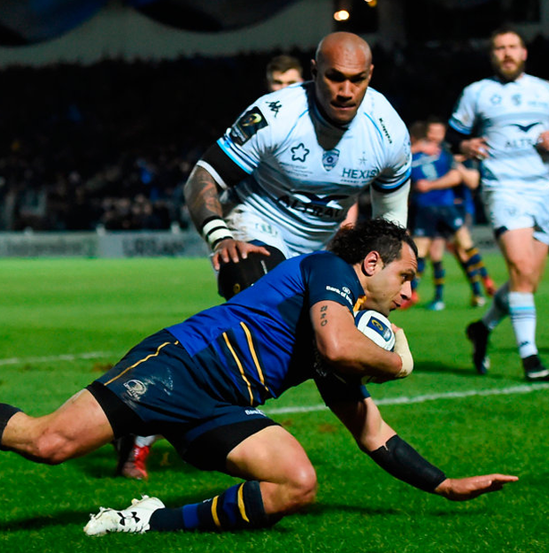Isa Nacewa scores Leinster's first try against Montpellier during the Champions Cup match at the RDS on Firday Photo: Sportsfile