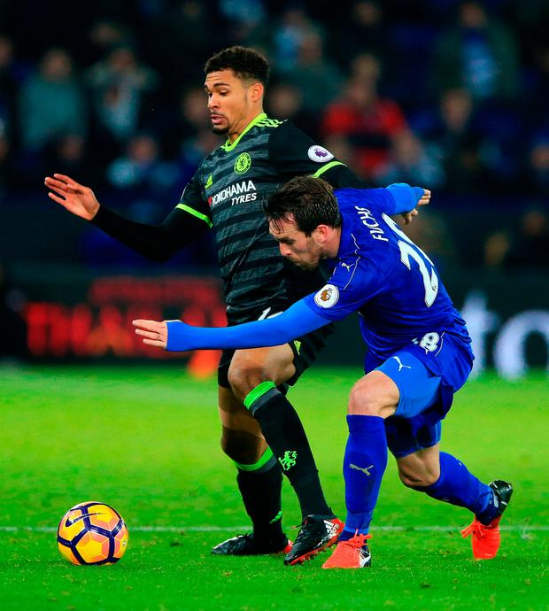 Chelsea's Ruben Loftus-Cheek (left) and Leicester City's Christian Fuchs in action. Photo credit: Nigel French/PA Wire