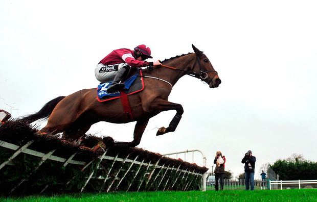 Barra and jockey Jack Kennedy clear the last flight on their way to landing yesterday's opener at Fairyhouse. Photo: Sportsfile