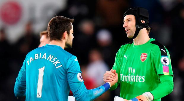 Cech was happy with the way Arsenal put Swansea to the sword. Getty