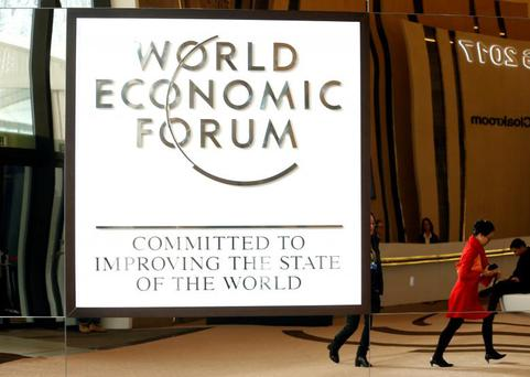 The logo of the World Economic Forum is seen in the congress center of the annual meeting of the World Economic Forum (WEF) in Davos, Switzerland January 15, 2017. REUTERS/Ruben Sprich