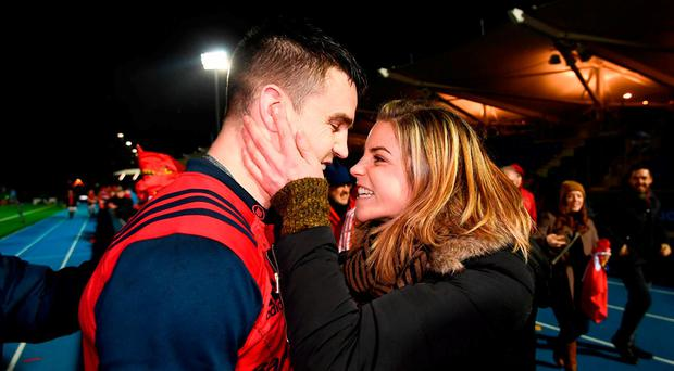 Conor Murray of Munster is congratulated by his sister Sarah following the European Rugby Champions Cup pool 1 round 5 match between Glasgow Warriors and Munster at Scotstoun Stadium in Glasgow, Scotland. Photo by Stephen McCarthy/Sportsfile