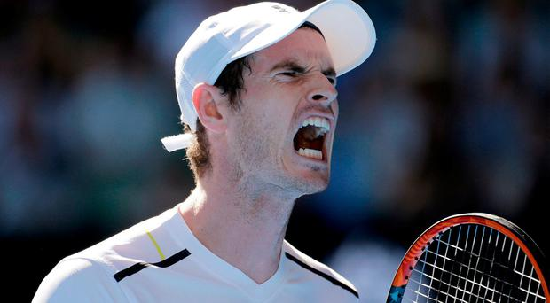 Britain's Andy Murray yells out while playing Ukraine's Illya Marchenko in their first round match at the Australian Open tennis championships in Melbourne. AP Photo/Aaron Favila