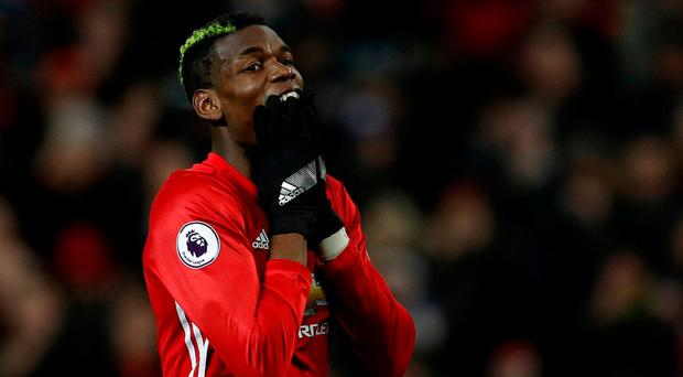 Manchester United's Paul Pogba reacts after his missed chance yesterday. Reuters / Phil Noble