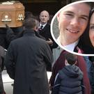The remains of Olivia Dunne being brought to St Peter and Paul's Church, Balbriggan at her funeral. Inset: Olivia with her husband Ciaran. Photo: Mark Condren