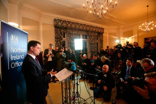 Northern Ireland Secretary James Brokenshire speaking inside his offices in Stormont House, Belfast where he called a snap Stormont Assembly election for March 2. Picture: Niall Carson/PA Wire