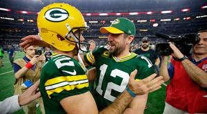 Green Bay Packers quarterback Aaron Rodgers (right) celebrates with kicker Mason Crosby (2) after beating the Dallas Cowboys. Photo credit: Dan Powers/The Post-Crescant via USA TODAY NETWORK