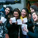 Tamara Thaise, Sabrini Resende, Luz Pereira, Michelle Franca and Cintia Marcomini from Brazil after they got their U2 Tickets in Stephens Green Shopping center. Photo: Kyran O'Brien