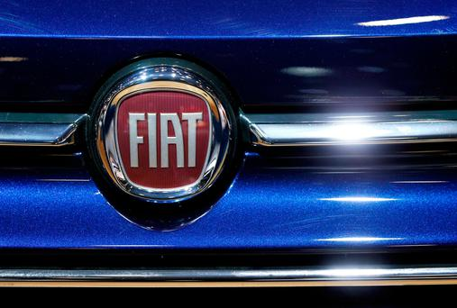 A Fiat car logo is pictured at the European Motor Show in Brussels, Belgium