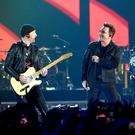 The Edge, Bono and Adam Clayton of U2 playing in Las Vegas in 2016. Photo: Kevin Winter/Getty