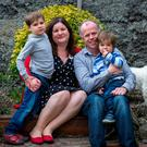 Nikki Murphy and Clem Brennan with their children Reuben (5) and Roscoe (2). Ms Murphy was featured in 'The New York Times' last year, when Reuben, then four, was turned away from nine schools in south Dublin because he was not baptised