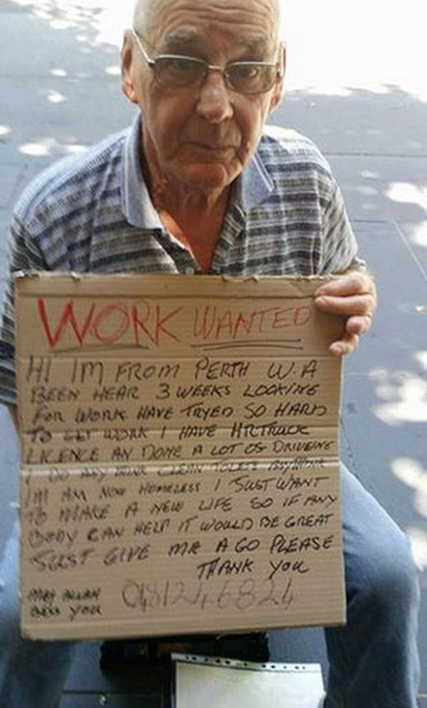 Sherryn Jackson, from Melbourne, was walking through the city centre when she saw a homeless man with a heartbreaking sign. SHERRYN JACKSON/FACEBOOK