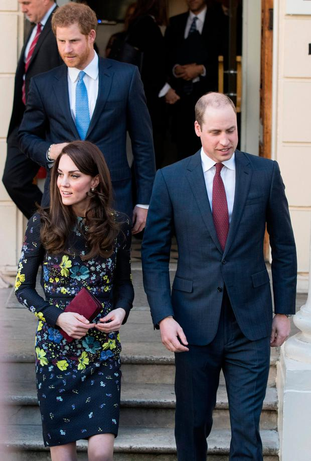 Prince William, Duke of Cambridge and Catherine, Duchess Of Cambridge and Prince Harry seen leaving after a briefing to announce plans for Heads Together ahead of the 2017 Virgin Money London Marathon at ICA on January 17, 2017 in London, England.